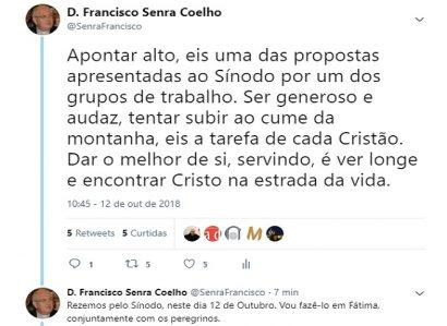 D. FRANCISCO SENRA COELHO: TWEET DE 12 DE OUTUBRO DE 2018