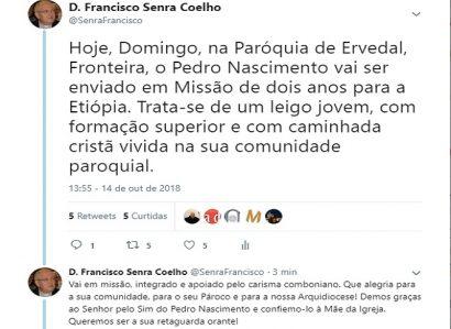 D. FRANCISCO SENRA COELHO: TWEET DE 14 DE OUTUBRO DE 2018