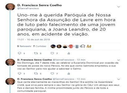 D. FRANCISCO SENRA COELHO: TWEET DE 16 DE OUTUBRO DE 2018