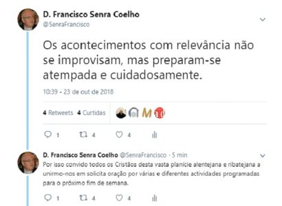 D. FRANCISCO SENRA COELHO: TWEET DE 23 DE OUTUBRO DE 2018