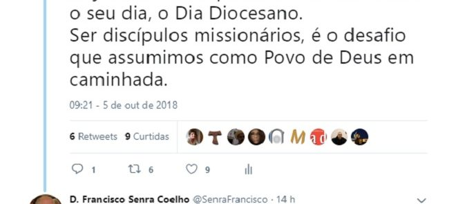 D. Francisco Senra Coelho: Tweet de 5 de Outubro de 2018