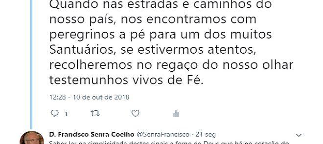 D. FRANCISCO SENRA COELHO: TWEET DE 10 DE OUTUBRO DE 2018