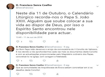 D. FRANCISCO SENRA COELHO: TWEET DE 11 DE OUTUBRO DE 2018