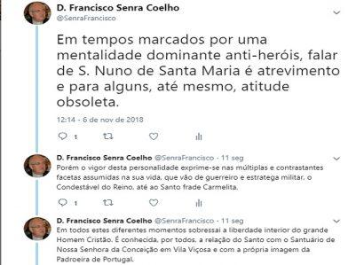 D. FRANCISCO SENRA COELHO: TWEET DE 6 DE NOVEMBRO DE 2018