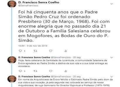 D. FRANCISCO SENRA COELHO: TWEET DE 9 DE NOVEMBRO DE 20188