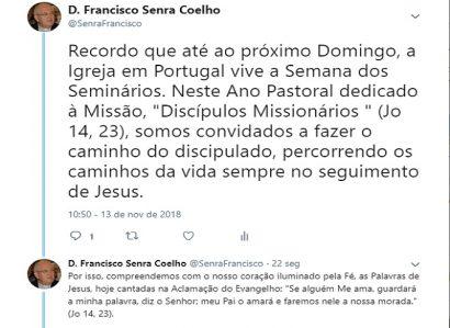 D. FRANCISCO SENRA COELHO: TWEET DE 13 DE NOVEMBRO DE 2018