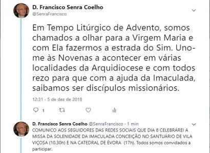 TWEET DE 5 DE DEZEMBRO: ARCEBISPO DE ÉVORA CONVIDA À PARTICIPAÇÃO NA SOLENIDADE DA IMACULADA CONCEIÇÃO