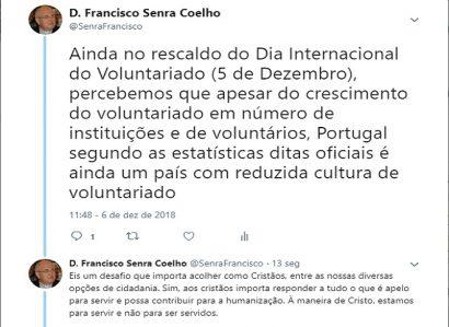 TWEET DE 6 DE DEZEMBRO: DESAFIO AO VOLUNTARIADO