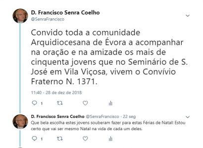 TWEET DE 28 DE DEZEMBRO DE 2018: 40 anos de Convívios Fraternos na Arquidiocese de Évora