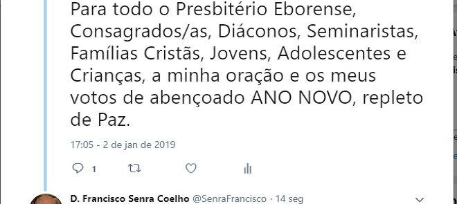 D. FRANCISCO SENRA COELHO: TWEET DE 2 DE JANEIRO DE 2019