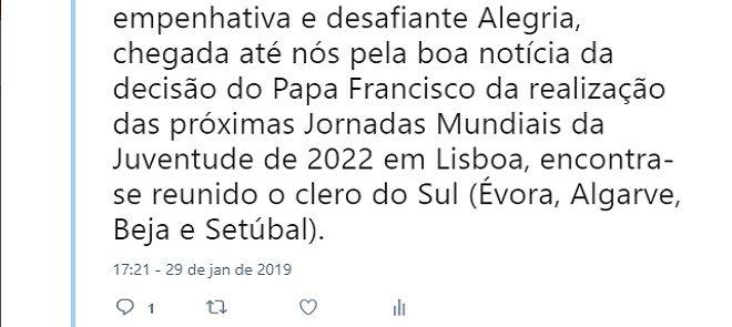 TWEET DE 29 DE JANEIRO DE 2019: JORNADAS DE ACTUALIZAÇÃO DO CLERO DO SUL