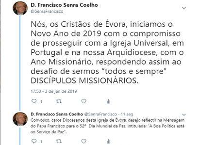D. FRANCISCO SENRA COELHO: TWEET DE 3 DE JANEIRO DE 2019