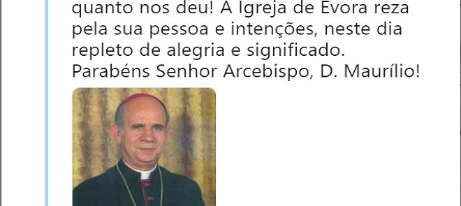 TWEET DE 13 DE JANEIRO DE 2019: Parabéns Senhor Arcebispo, D. Maurílio!