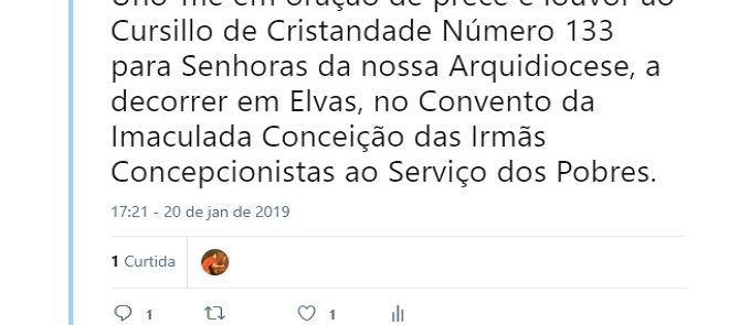 Arcebispo de Évora no Twitter: Cursillo de Cristandade número 133 para Senhoras