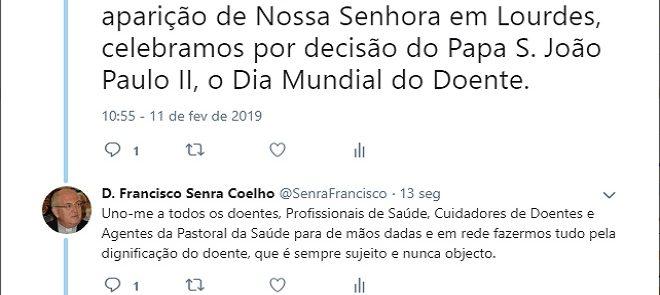 TWEET DE 11 DE FEVEREIRO DE 2019: DIA MUNDIAL DO DOENTE