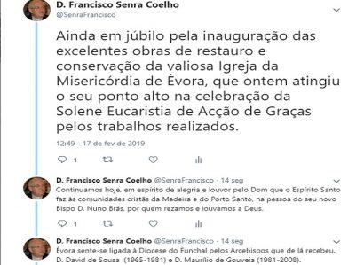 TWEET DE 17 DE FEVEREIRO DE 2019: DIOCESE DO FUNCHAL E ARQUIDIOCESE DE ÉVORA