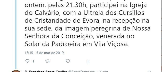 TWEET DE 5 DE MARÇO DE 2019: VISITA DA PADROEIRA AOS CENTROS DE ULTREIA