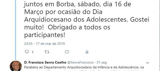 TWEET DE 17 DE MARÇO DE 2019: Dia Diocesano do Adolescente