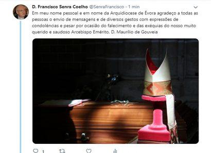 TWEET DE 24 DE MARÇO DE 2019: D. MAURÍLIO JORGE QUINTAL DE GOUVEIA