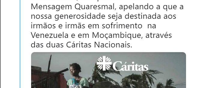TWEET DE 30 DE MARÇO DE 2019: Renúncia Quaresmal destinada aos irmãos e irmãs em sofrimento  na Venezuela e em Moçambique
