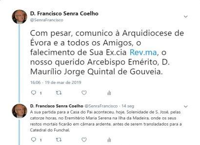 TWEET DE 19 DE MARÇO DE 2019: Partiu para a Casa do Pai D. Maurílio de Gouveia