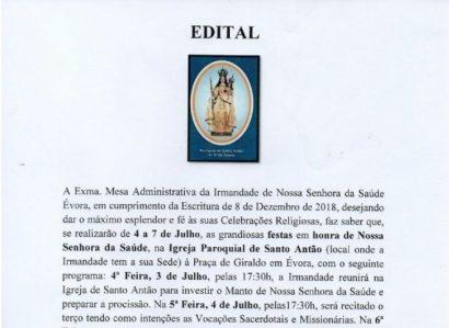 7 de Julho: Festa de N.ª Sr.ª da Saúde celebra-se em Évora