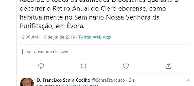 TWEET DE 10 DE JULHO DE 2019: RETIRO DO CLERO EBORENSE