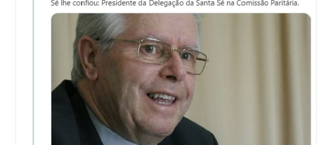 Tweet de 15 de Julho de 2019: D. José Alves na Comissão Paritária