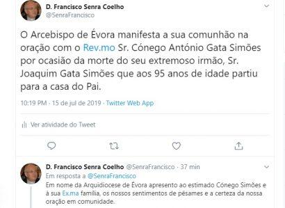 Tweet de 15 de Julho de 2019: Cónego António Simões de luto