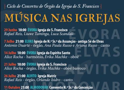 Até Novembro de 2019: Ciclo de Concertos de Órgão da Igreja de S. Francisco continua. O próximo é a 21 de Julho