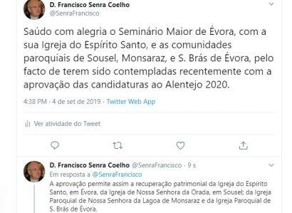 Tweet de 4 de Setembro: Recuperação Patrimonial na Arquidiocese de Évora