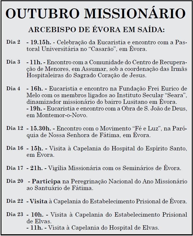Outubro Missionario Calendario