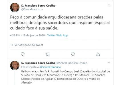 Tweet do Arcebispo de Évora: Orações pelos presbíteros doentes