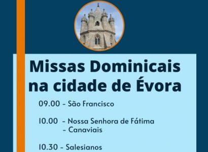 A partir de 30 de Maio de 2020: Horários das Missas na Cidade de Évora