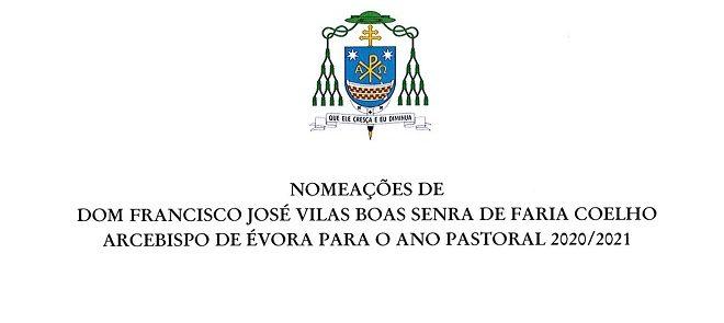Nomeações do Arcebispo de Évora para o Ano Pastoral 2020/2021