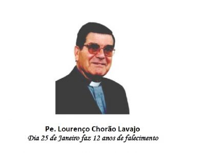 25 de janeiro: P. Lourenço Chorão Lavajo, 12 anos de falecimento